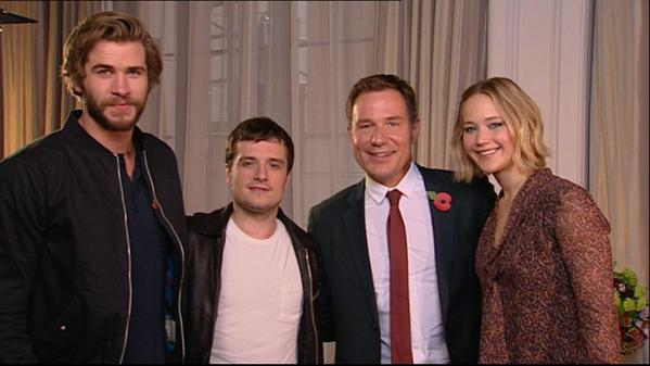 Liam, Josh, and Jennifer with Good Morning Britain host Nick Rylance