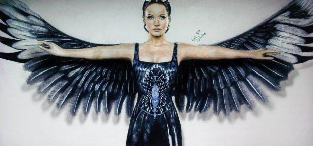 katniss_everdeen_drawing_mockingjay_dress_by_californiaswag-d75yqpk