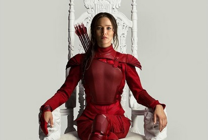 Katniss Red Mockingjay Throne Poster Tim Palen featured