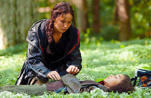 katniss-burys-rue-in-flowers-the-hunger-games