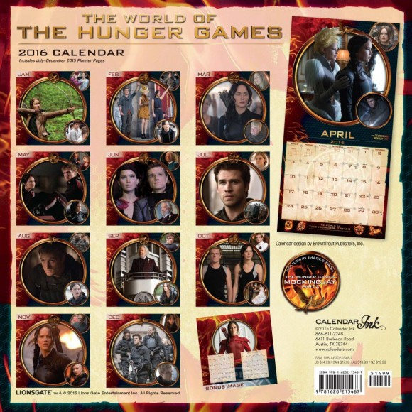 world of the hunger games 2016 calendar january to december